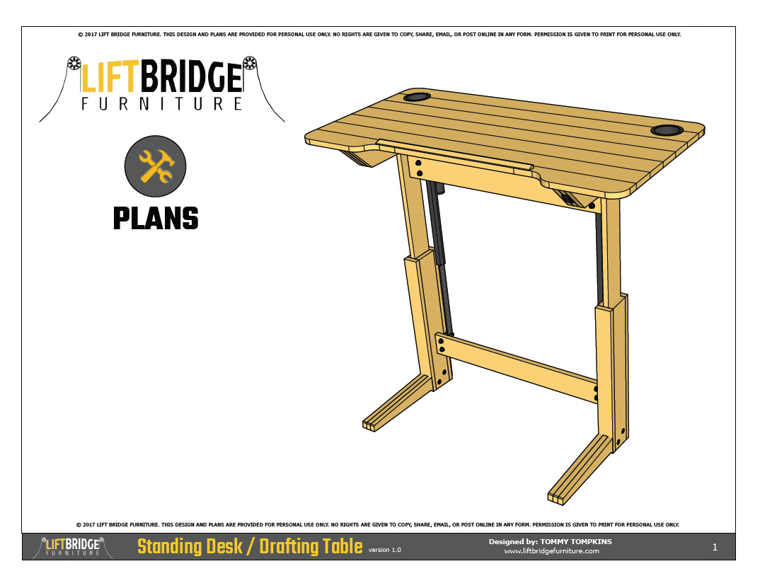 lift bridge standing desk    drafting table plans
